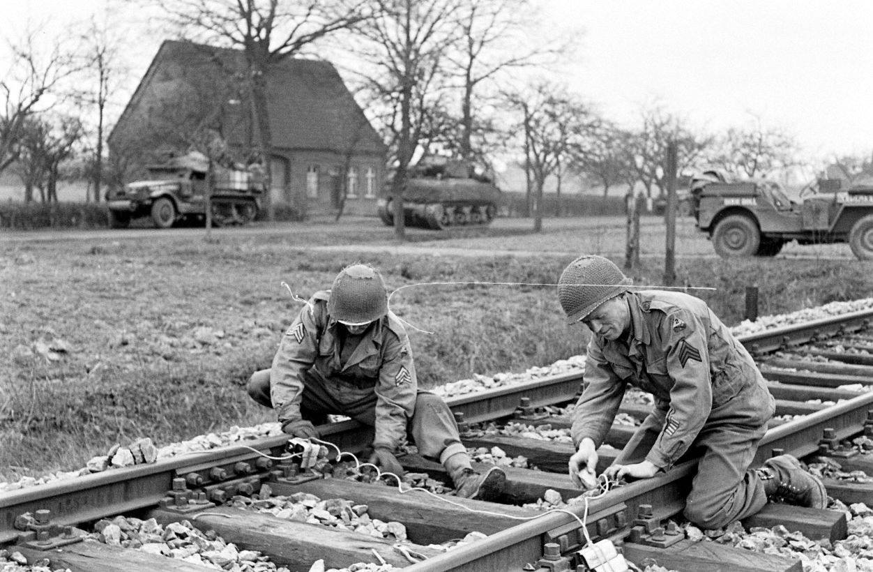 17th Engineers setting explosives on a railway line