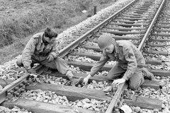 17th Engineers demolition team laying mines under an railway track