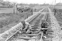 17th Engineers setting explosives on a railway line.