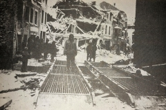 Bridge builtstream by the 17th on the outskirts of Houffalize to allow vehicles enter the towm, Belgium, January 1944
