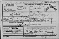 Headstone Application Raymond V. Larkin 6-15-1944 2