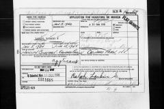 Headstone Application Raymond V. Larkin 6-15-1944