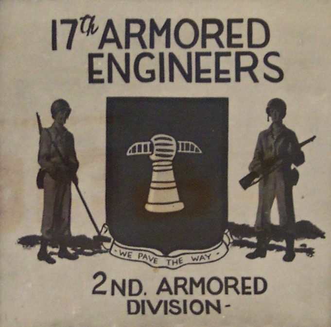 Detail van het bord van de 17th Armored Engineers in Berlijn 1945