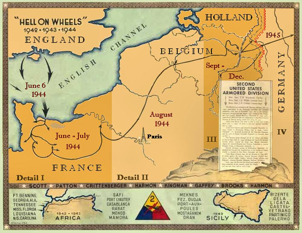 "Routemap 1942 – 1945 2nd Armored Division ""Hell on Wheels"""