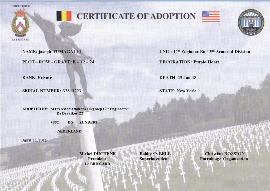 Certificate of Adoption Joseph Fumagalli