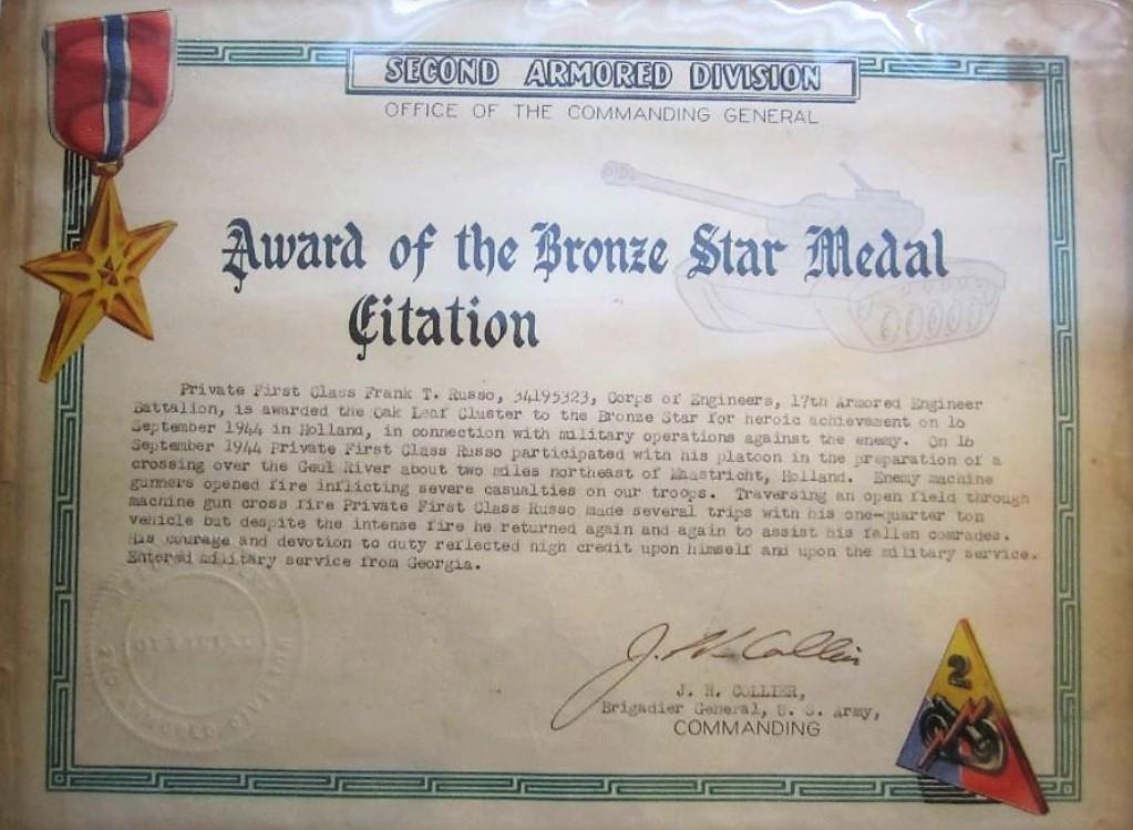 Citation Oak Leaf on Bronze Star Franks T Russo