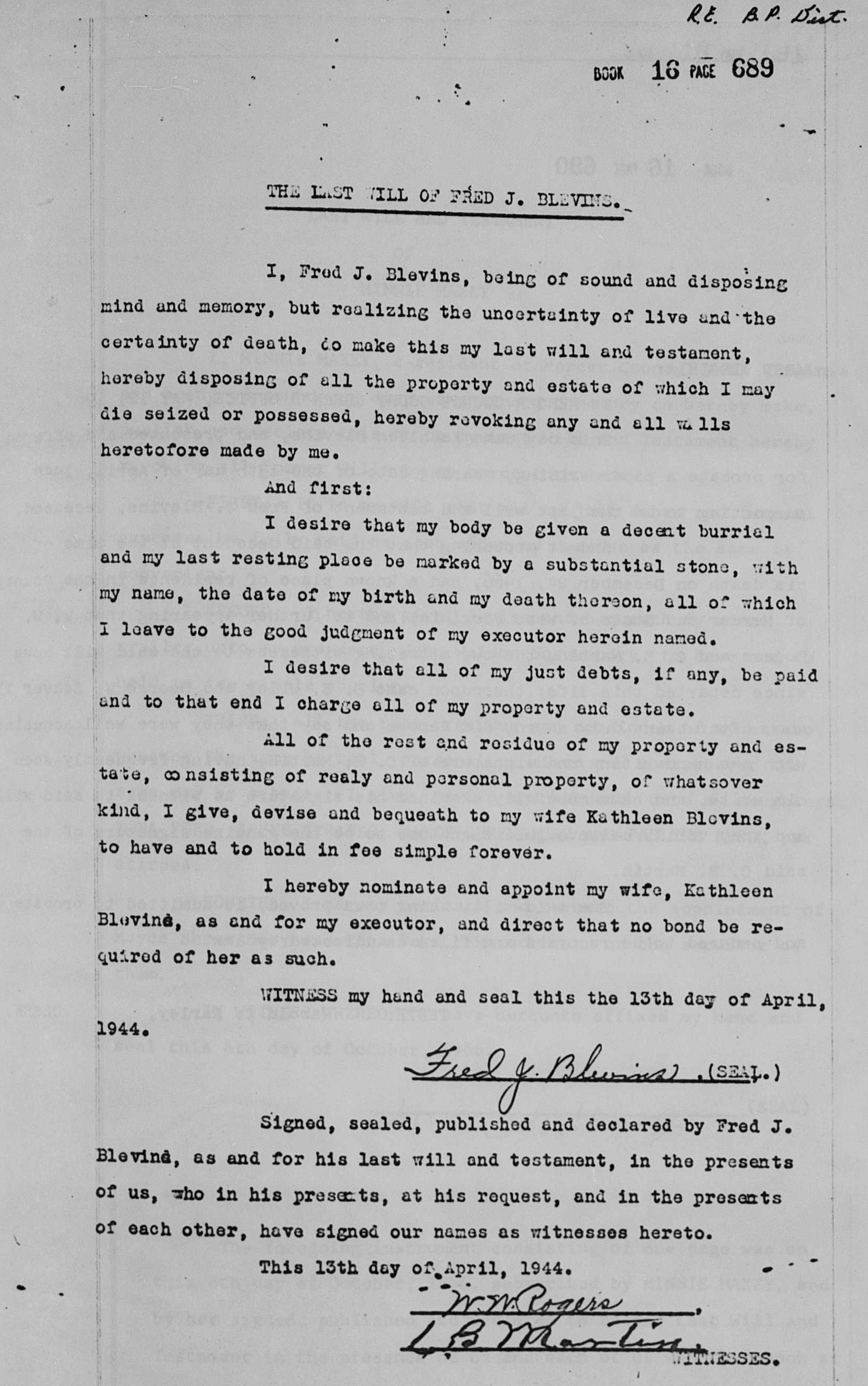 The last will of Fred J Blevins