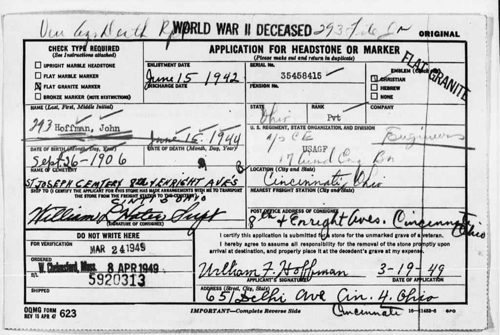 Headstone application John Hoffman 6-15-1944 B