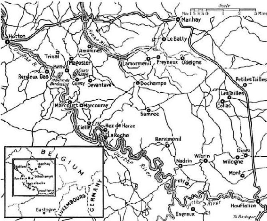 Map 4th January. With Beffe, Odeigne, La Batty, Cosy, source battleofthebulgememories.be