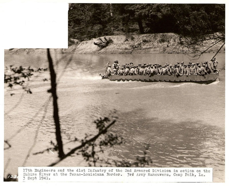 17th Engineer Batt. & 41st Infantry reg. at the Sabine river, Louisiana manouvres 3 September 1941