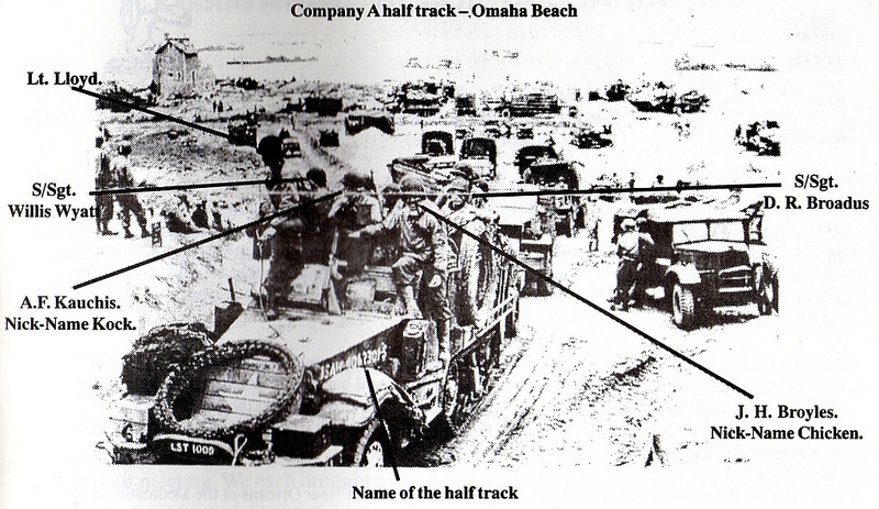 17th Arrmored Engineer Battalion, halftrack A-company leaves Omaha Beach through the 'Le Ruquet' Draw, Nornandy,France, June 1944