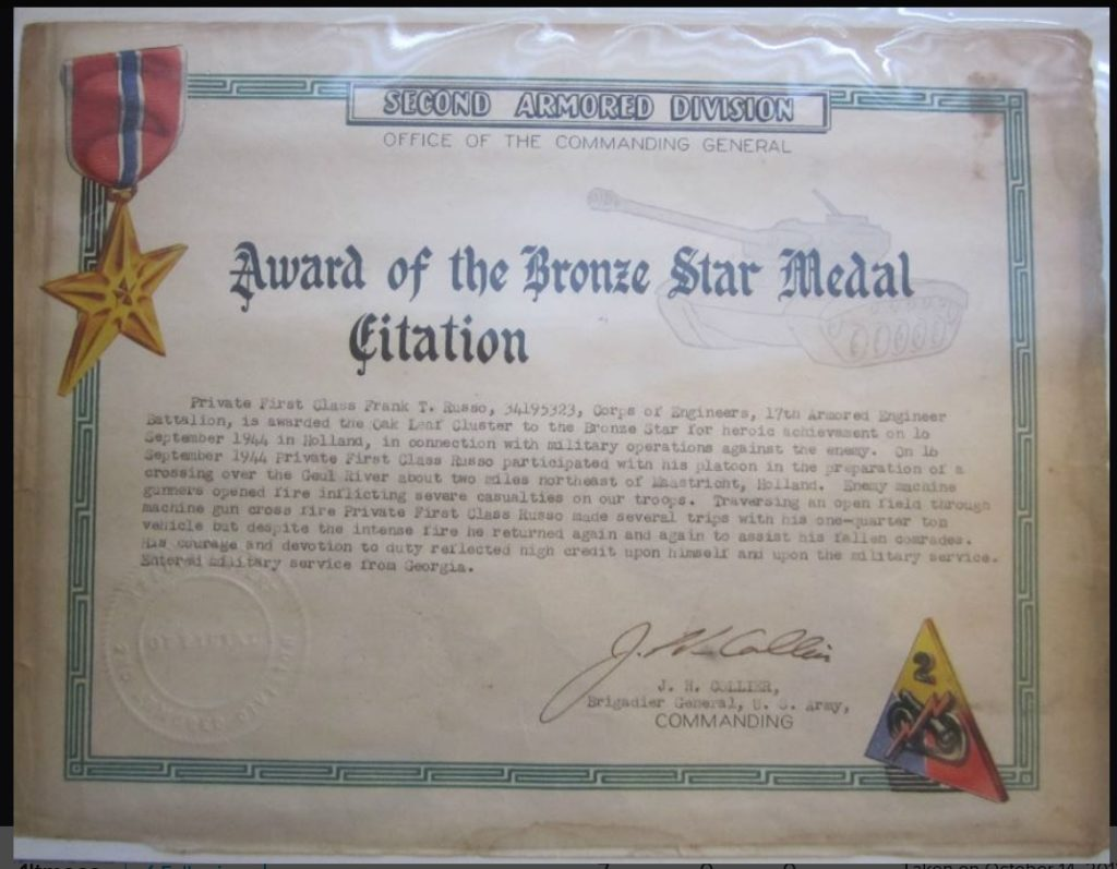 Bronze Star Medal Citation PFC F. Russo