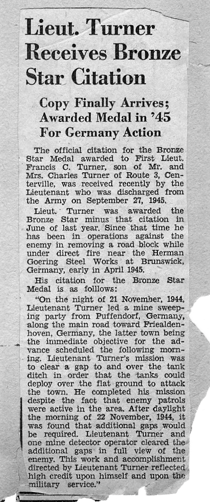 Citations in Newspaper of Francis Turner - Bronze Star Puffendorf Germany