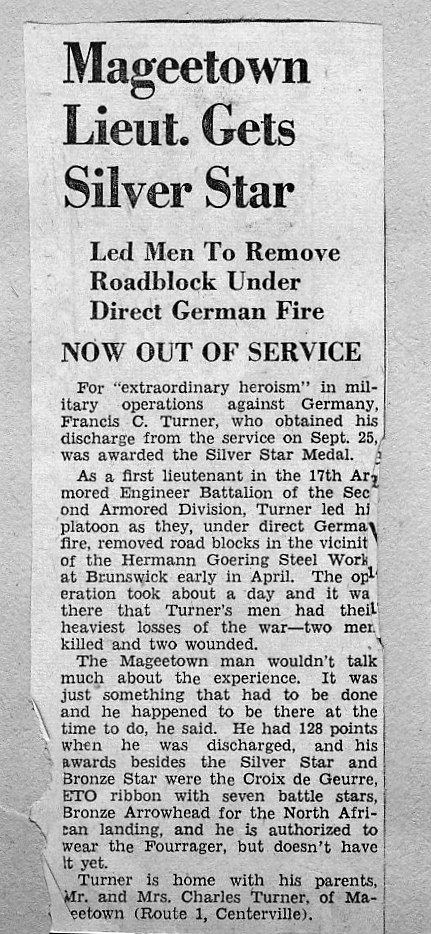 Newspaper Article, Citations of Francis Turner - Silver Star