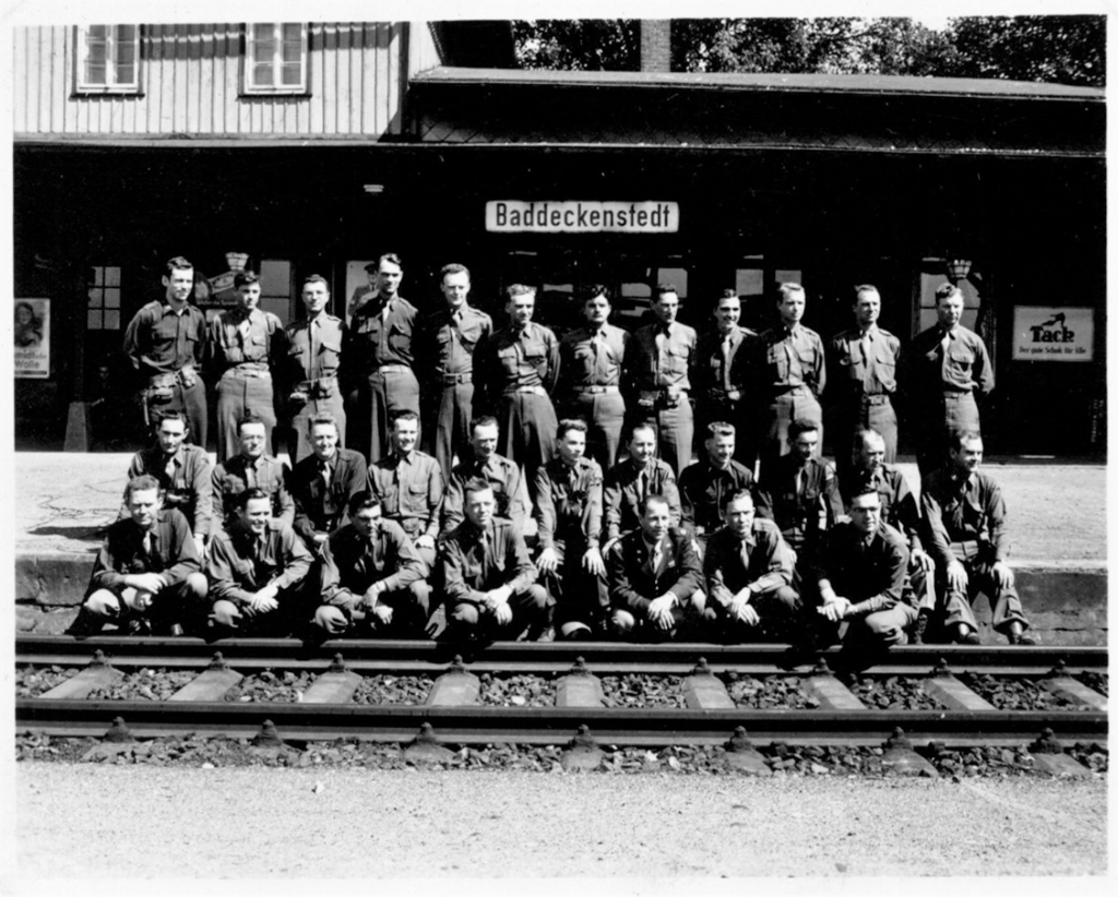 Franics Turner with his fellow officers, 17th Arrmored Engineer Battalion at Baddeckenstedt Railwaystation Germany, spring1945
