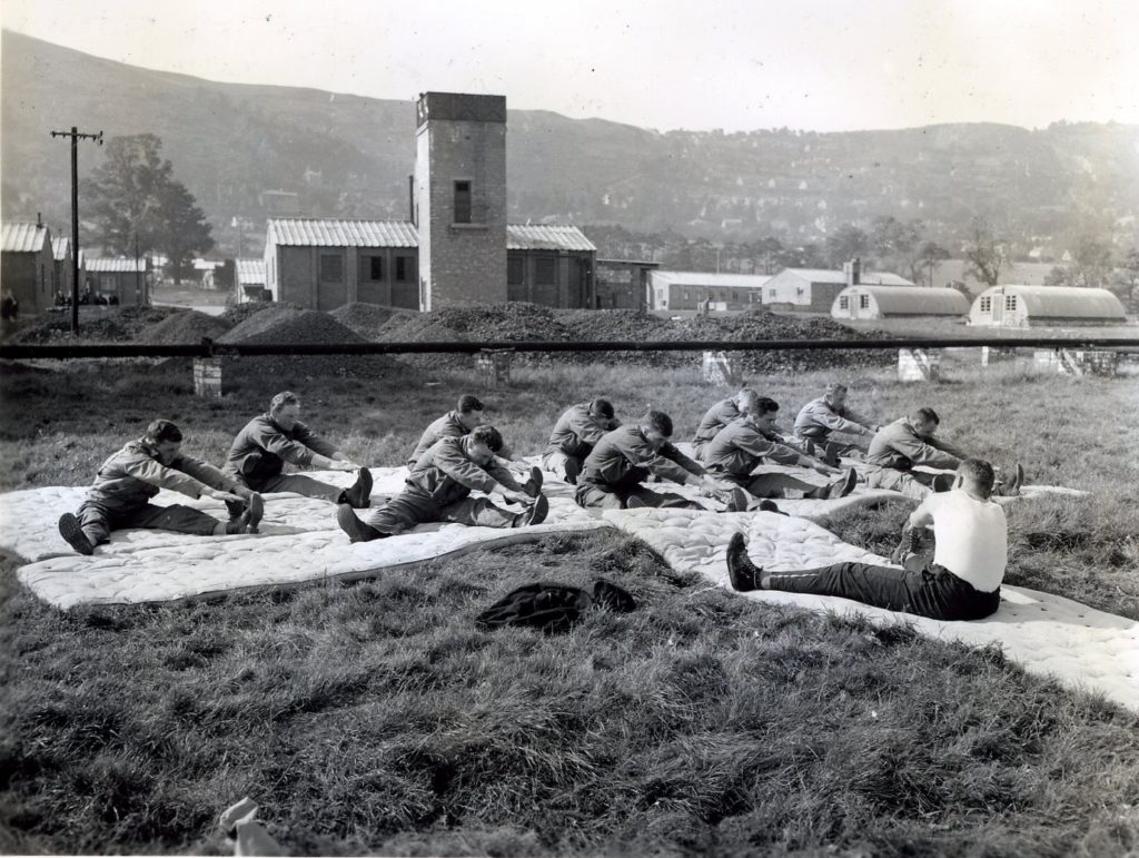 Patients from the 55th General Hospital carrying out Rehabilitation classes at the foot of the Malvern