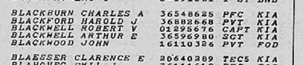 Harold J Blackford Deathlist detail