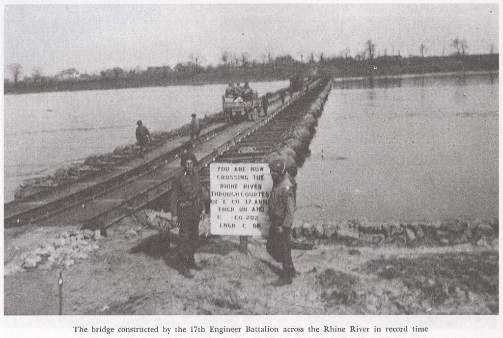 Bridge Rhine River 17th AEB in record time, Source: Unit History