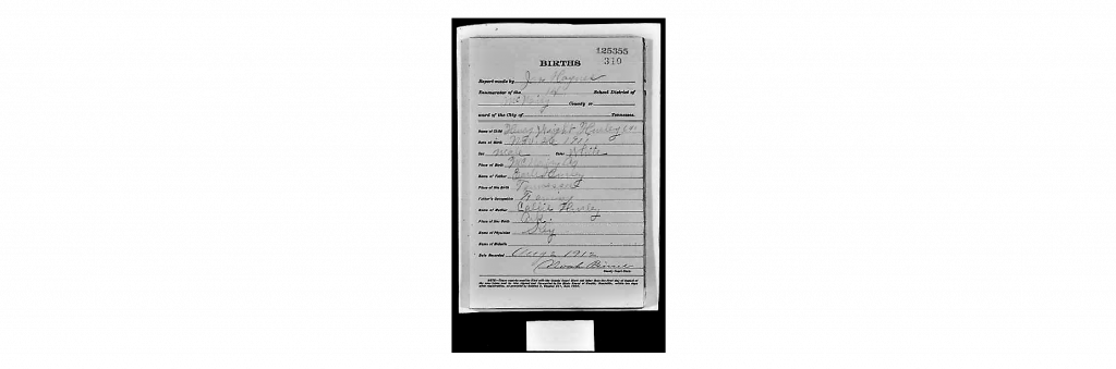 Birth Record Tennessee Mc Nairy - Henry Wright Hurley