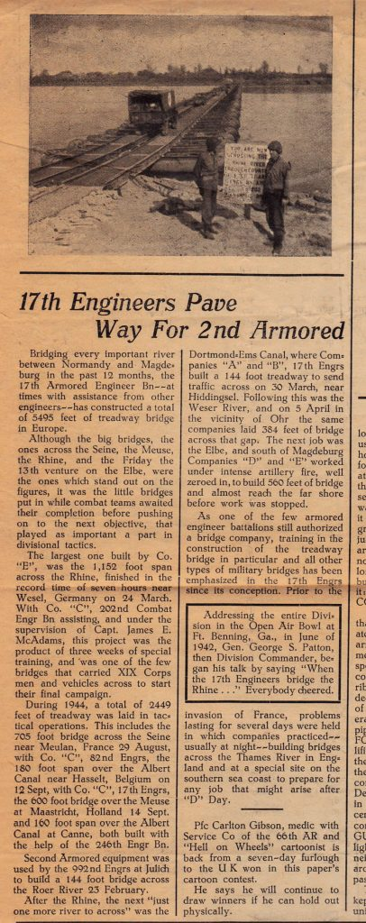 Article about Co E from Hell on Wheels June 13 1945