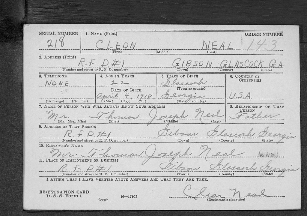 Draft Registration Card
