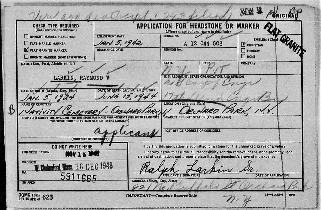 Headstone Application Raymond V. Larkin