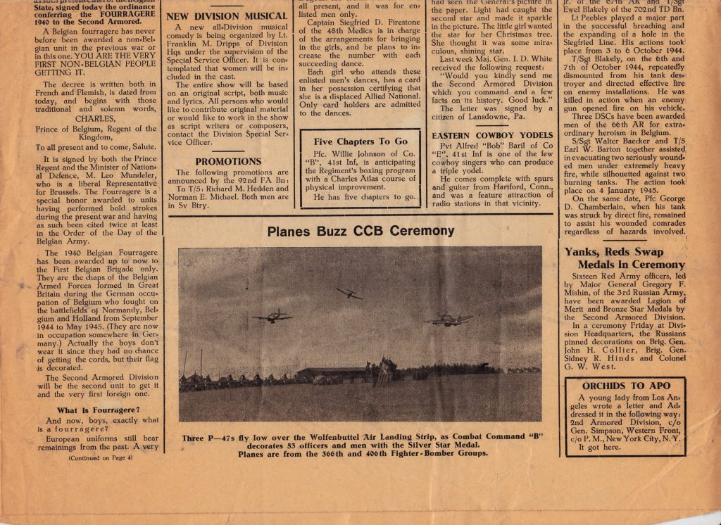 Hell on Wheels June 13 1945. Belgian Fourragere article. Courtesy of Dave Ketchpaw.