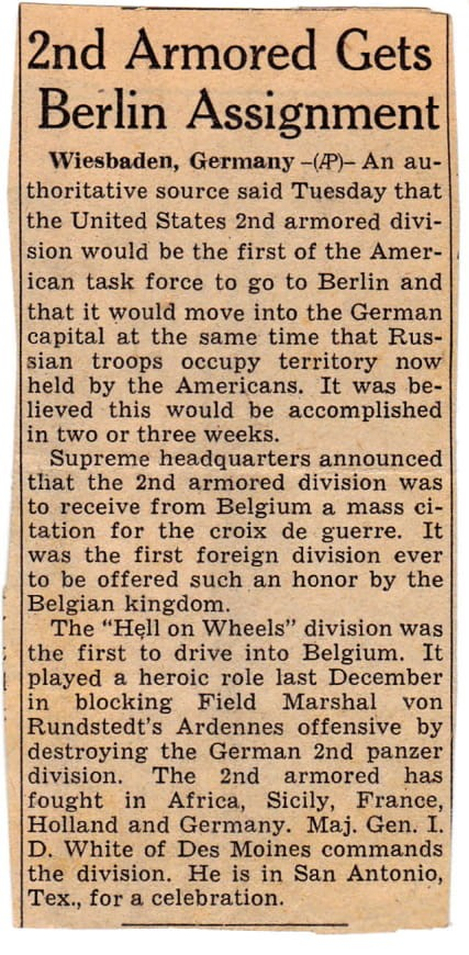 Local newspaper clipping 2nd Armored- Berlin Assigned