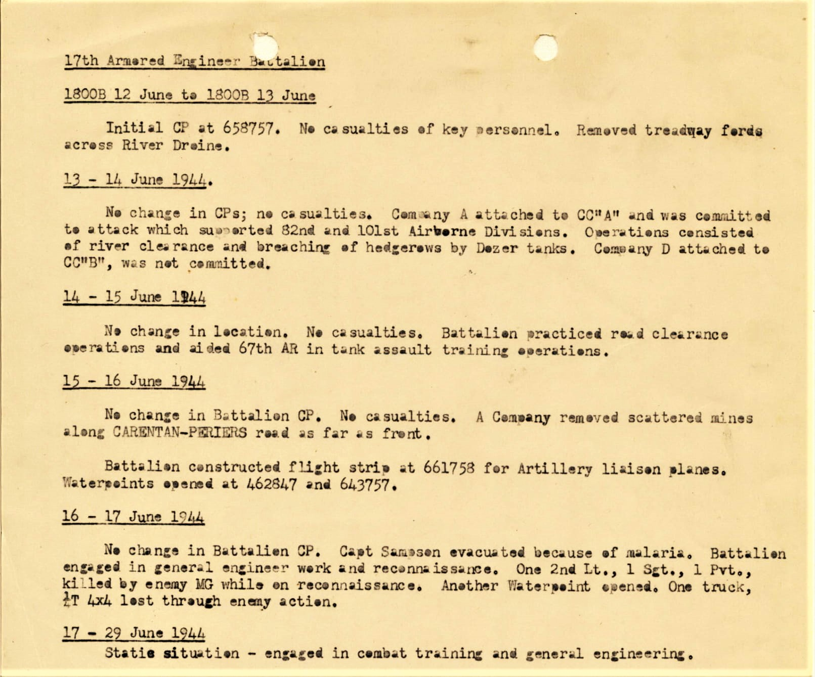 After Action 17thArmEngJune1944 - National Archives Textual Reference