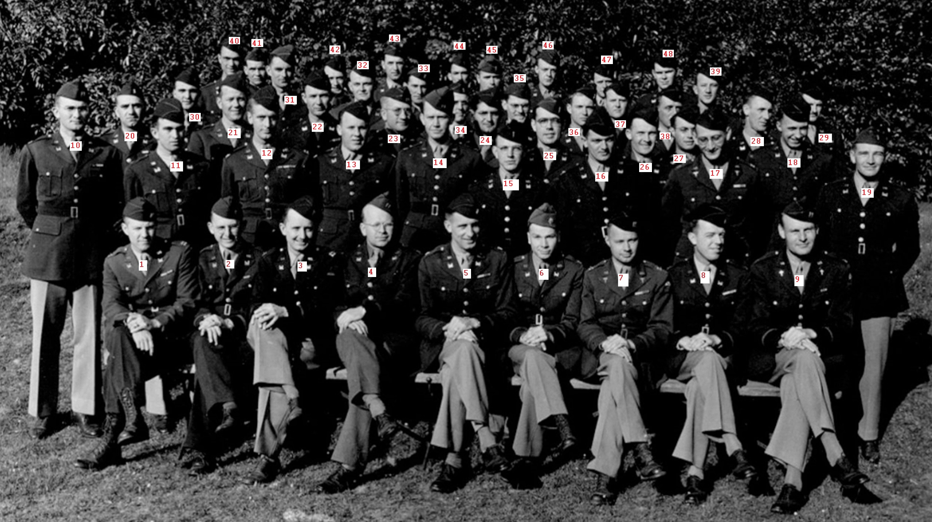 Numberd Officer Staff 17th Engineers at Tidworth Barracks Engeland, june, may 1944 S. Benninger
