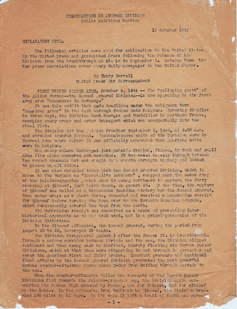 HQ 2nd AD 10/12/1944 page 1