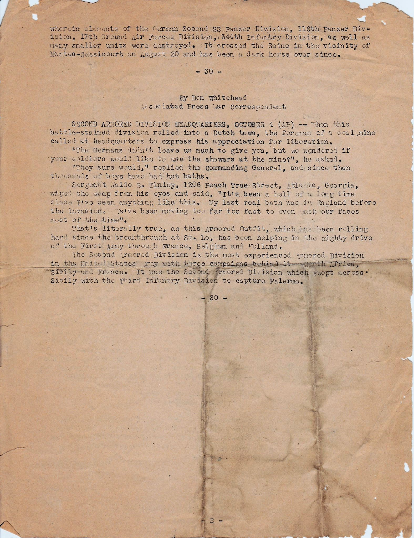 HQ 2nd AD 10/12/1944 page 2