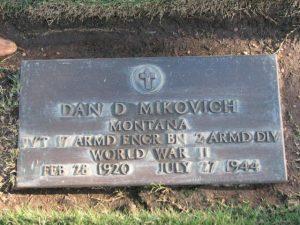 Mikovich Pvt Dan Donald Headstone