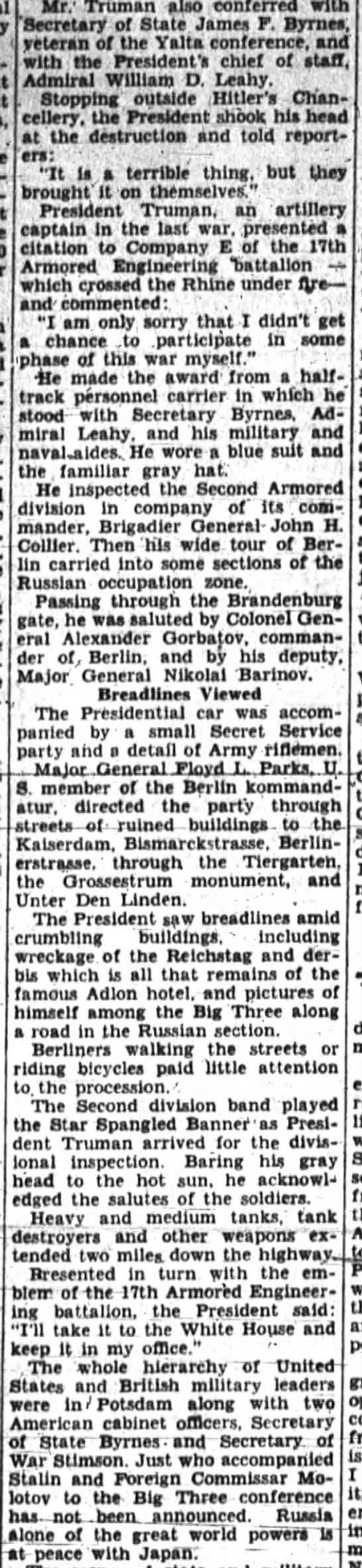 Poughkeepsie Journal (Poughkeepsie, Dutchess, New York, United States of America) · 16 Jul 1945