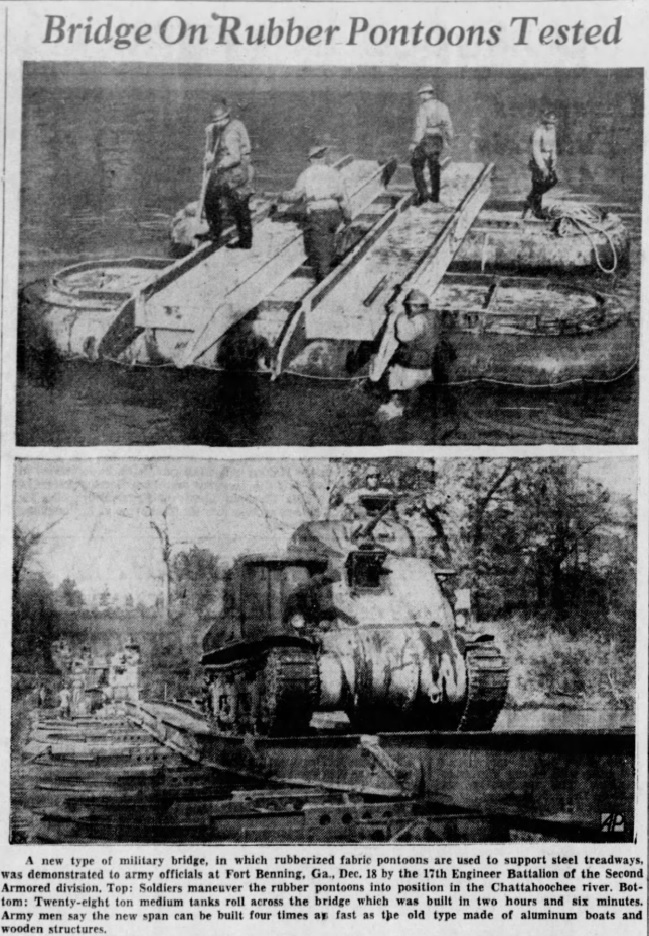 Bridge on rubber pontoons tested Dec 18 1941 newspapers.com