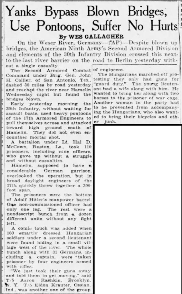 Democrat and Chronicle Rochester, Monroe, New York, United States of America 6 Apr 1945