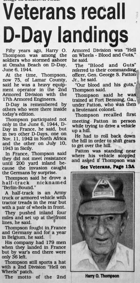 Harry Oliver Thompson Sr 1919 - 1997 (source: newspapers.com)