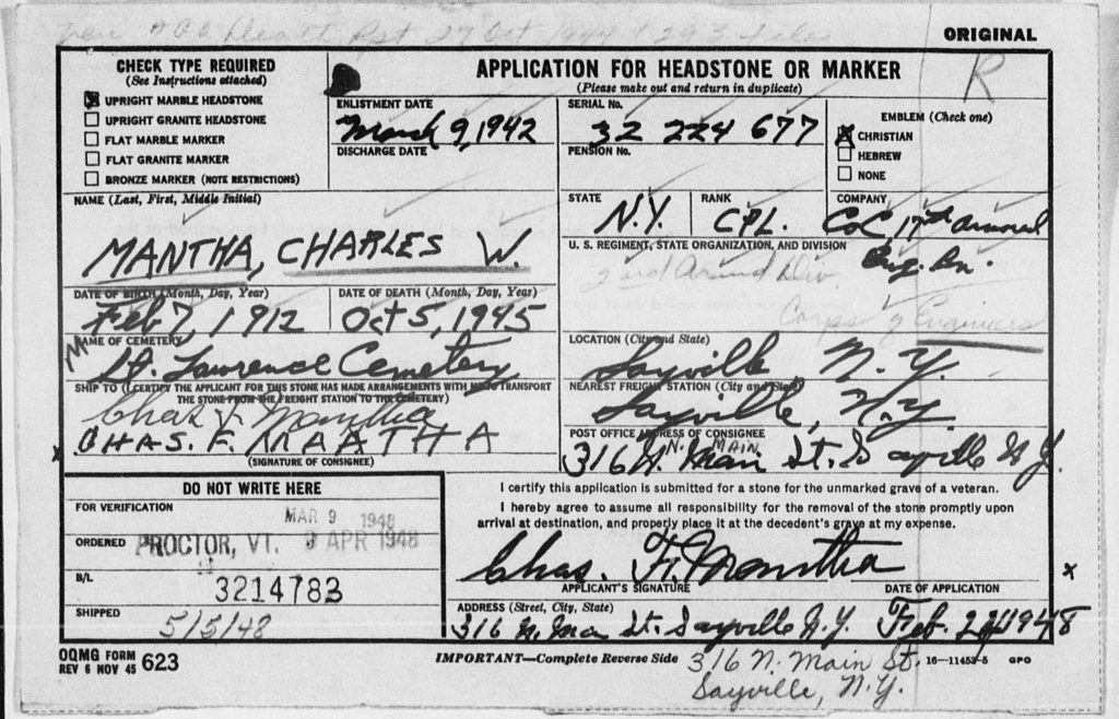 Mantha CPL Charles W. Headstone Application Card
