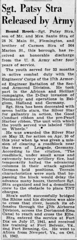 Sgt Patsy StraThe Courier-News (Bridgewater, Somerset, New Jersey, United States of America 6 Jul 1945, Fri