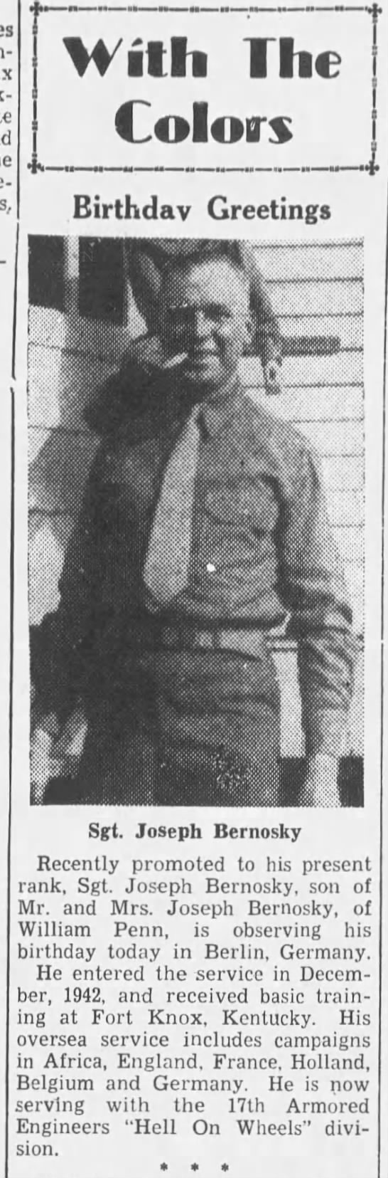 Sergeant Joseph Bernosky Republican and Herald (Pottsville, Pennsylvania, United States of America) · 13 Sep 1945