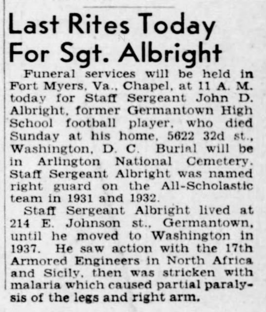 Sgt Albright The Philadelphia Inquirer (Philadelphia, Philadelphia, Pennsylvania, United States of America) · 28 Nov 1945