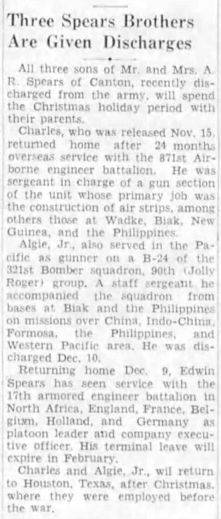 Edwin E Spears Asheville Citizen-Times (Asheville, Buncombe, North Carolina, United States of America) · 16 Dec 1945