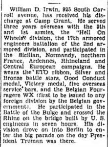 William D Irwin Freeport Journal-Standard (Freeport, Stephenson, Illinois) · 20 Nov 1945