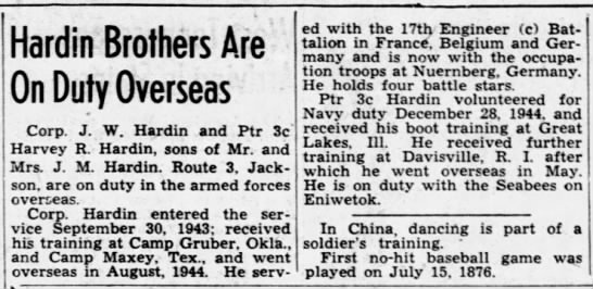 Corporal J W Hardin - The Jackson Sun (Jackson, Madison, Tennessee, United States of America) · 16 Dec 1945