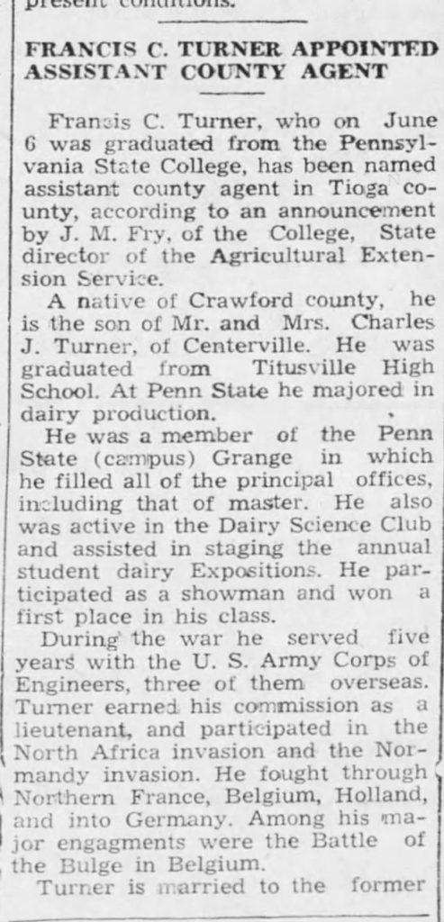 Mansfield Advertiser  (Mansfield, Pennsylvania) 29 Jun 1949, Wed  • Page 7