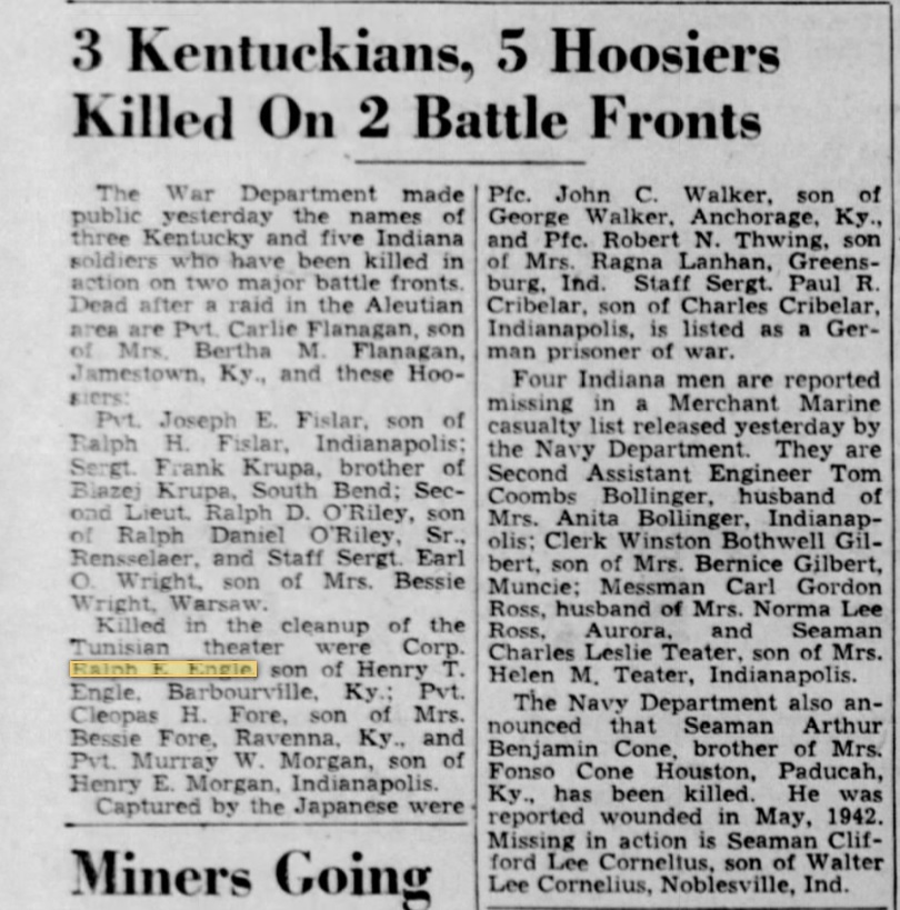 Corp Ralph E. Engle The Courier-Journal (Louisville, Jefferson, Kentucky, United States of America 13 Jul 1943