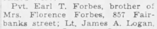 Private Earl T Forbes - The Times (Munster, Indiana, United States of America) · 7 Mar 1945, Wed Newspaper.com)