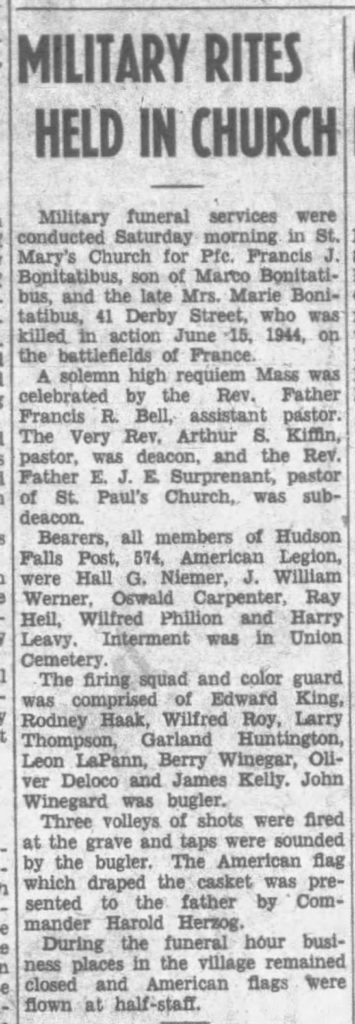 Private Francis J Bonitatibus 1948 newarticle reburial The Post-Star (Glens Falls, Warren, New York, United States of America) · 25 Oct 1948