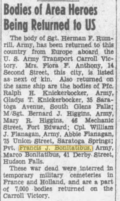 Private Francis J Bonitatibus 1948 newarticle The Post-Star, 06 Oct 1948, Wed, Page 3