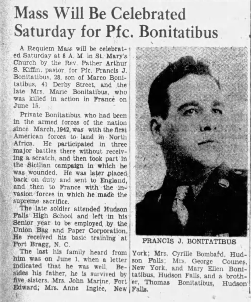 Private Francis J Bonitatibus Article The Post-Star (Glens Falls, Warren, New York, United States of America) · 14 Jul 1944